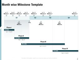 Month Wise Milestone Template Ppt Powerpoint Presentation Show Grid