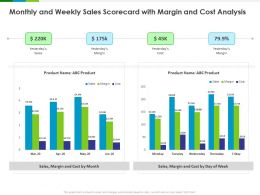 Monthly And Weekly Sales Scorecard With Margin And Cost Analysis Product Ppt Powerpoint Presentation Layouts Icon
