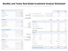 Monthly And Yearly Real Estate Investment Analysis Worksheet