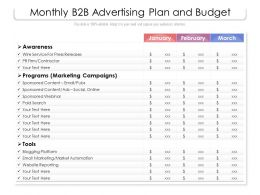 Monthly B2b Advertising Plan And Budget