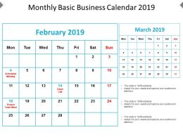 Monthly Basic Business Calendar 2019