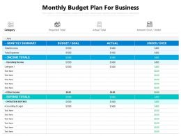 Monthly Budget Plan For Business