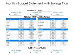 Monthly Budget Statement With Savings Plan