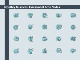 Monthly Business Assessment Icon Slides Gears Growth Ppt Powerpoint Presentation Icon Rules