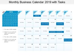 Monthly Business Calendar 2019 With Tasks