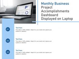 Monthly Business Project Accomplishments Dashboard Displayed On Laptop