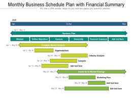 Monthly Business Schedule Plan With Financial Summary