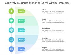 Monthly Business Statistics Semi Circle Timeline