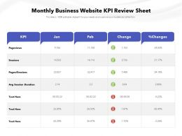 Monthly Business Website KPI Review Sheet