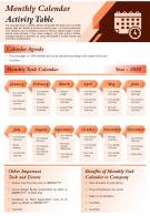 Monthly Calendar Activity Table Presentation Report Infographic PPT PDF Document