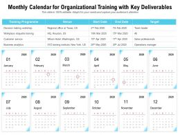 Monthly Calendar For Organizational Training With Key Deliverables