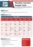 Monthly Calendar Sample Task Presentation Report Infographic PPT PDF Document