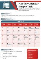 Monthly Calendar Sample Task Presentation Report Infographic PPT PDF Document