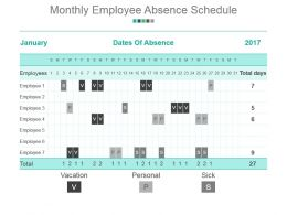 Monthly Employee Absence Schedule Powerpoint Slide Background Designs