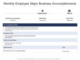 Monthly Employee Major Business Accomplishments