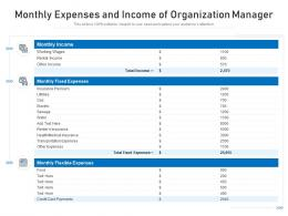 Monthly Expenses And Income Of Organization Manager
