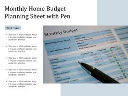 Monthly Home Budget Planning Sheet With Pen