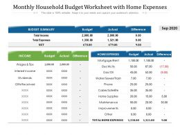 Monthly Household Budget Worksheet With Home Expenses