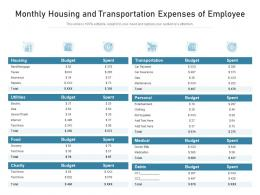Monthly Housing And Transportation Expenses Of Employee