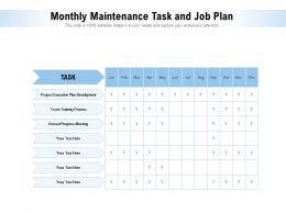 Monthly Maintenance Task And Job Plan