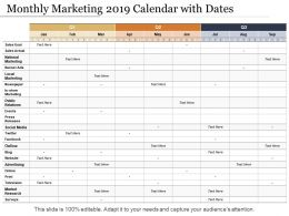 Monthly Marketing 2019 Calendar With Dates
