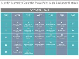 Monthly Marketing Calendar Powerpoint Slide Background Image