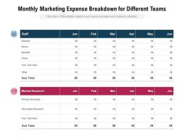 Monthly Marketing Expense Breakdown For Different Teams