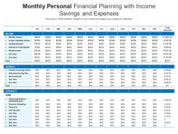 Monthly Personal Financial Planning With Income Savings And Expenses