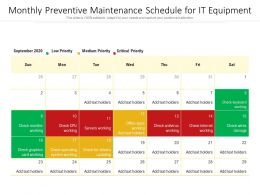 Monthly Preventive Maintenance Schedule For IT Equipment