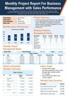 Monthly Project Report For Business Management With Sales Performance Report Infographic PPT PDF Document