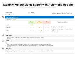 Monthly Project Status Report With Automatic Update