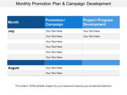 Monthly Promotion Plan And Campaign Development