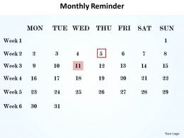 monthly reminder shown on calendar powerpoint diagram templates graphics 712