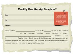 Monthly Rent Receipt Template Agent Ppt Powerpoint Presentation Ideas Graphics