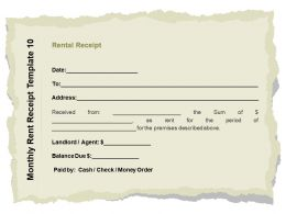 Monthly Rent Receipt Template Check Ppt Powerpoint Styles Format Ideas