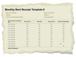 Monthly Rent Receipt Template Due Ppt Powerpoint Presentation Layouts Maker