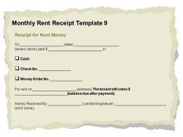 Monthly Rent Receipt Template L2046 Ppt Powerpoint Presentation Summary Deck