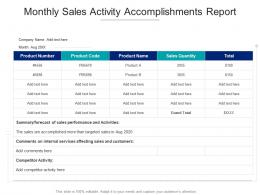 Monthly Sales Activity Accomplishments Report