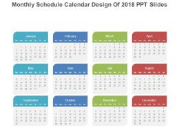 monthly schedule calendar design of 2018 ppt slides