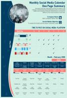 Monthly Social Media Calendar One Page Summary Presentation Report Infographic PPT PDF Document