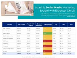 Monthly Social Media Marketing Budget With Expenses Details