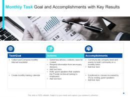 Monthly Task Goal And Accomplishments With Key Results