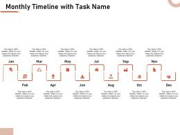 Monthly Timeline With Task Name Jan To December Ppt Presentation Clipart
