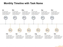 Monthly Timeline With Task Name M1457 Ppt Powerpoint Presentation Icon Mockup