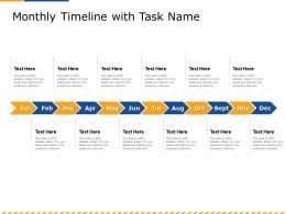 Monthly Timeline With Task Name M2601 Ppt Powerpoint Presentation Outline Portrait