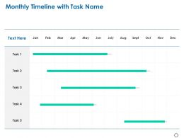 Monthly Timeline With Task Name Ppt Powerpoint Presentation File Structure