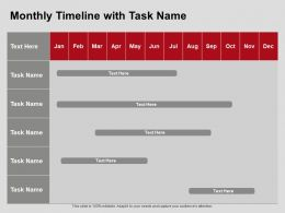 Monthly Timeline With Task Name Ppt Powerpoint Presentation Styles Information