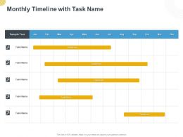 Monthly Timeline With Task Name Ppt Powerpoint Presentation Visual Aids Pictures