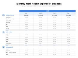 Monthly Work Report Expense Of Business