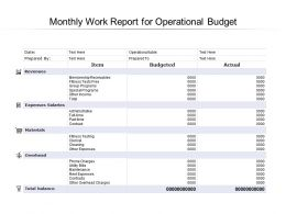 Monthly Work Report For Operational Budget
